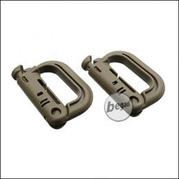 """VIPER Kunststoff Karabiner """"V-Lock"""", MOLLE kompatibel, 2er Pack - TAN-"""