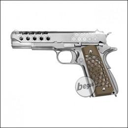 """WE M1911 """"HEX CUT"""" Gen. 2 GBB -silber- (frei ab 18 J.)"""