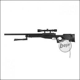 WELL MB01C -MANCRAFT HPA- Sniper inkl. Zielfernrohr & Zweibein -schwarz- (frei ab 18 J.)