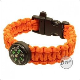 BE-X Paracord Survival Armband mit Pfeife & Kompass - orange
