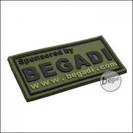 """BE-X 3D Abzeichen """"Sponsored by Begadi"""" aus Hartgummi, mit Klett - olive"""