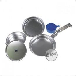 Kochgeschirr aus Alu, 1 Pfanne, 1 Topf, 1 Pl.-tasse, 1 Schüssel