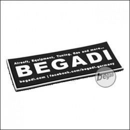 """3D Abzeichen """"Begadi Shop"""" aus Hartgummi, mit Klett - schwarz"""