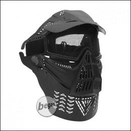 Begadi Vollgesichtsmaske mit Schild und Halsschutz - schwarz