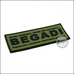 """3D Abzeichen """"Begadi Shop"""" aus Hartgummi, mit Klett - olive"""