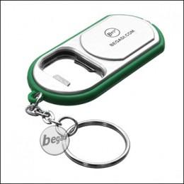 Begadi Flaschenöffner mit Taschenlampe - grün/silber