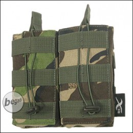 BE-X Open Mag Pouch, double, für M4 / M16 - woodland DPM