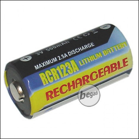 Rechargeable RCR123A 3.0V Lithium battery, 1pcs