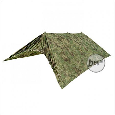 "BE-X FronTier One Tarp ""Ranger 3"" + tent function, 325cm x 280cm - 70D nylon - PenCott Greenzone"