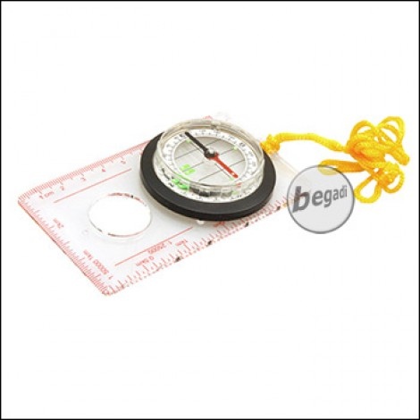 Fibega Map Compass with 360° Scale and ruler