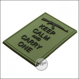 """BE-X 3D Rubber Patch """"Carry an AK"""", with Hook & Loop - OD green"""