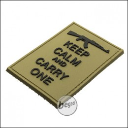 """BE-X 3D Rubber Patch """"Carry an AK"""", with Hook & Loop - TAN"""