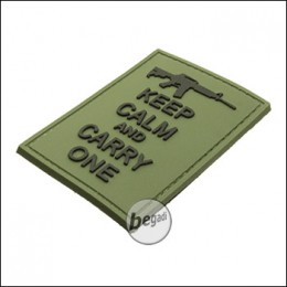 """BE-X 3D Rubber Patch """"Carry an M4"""", with Hook & Loop - OD green"""