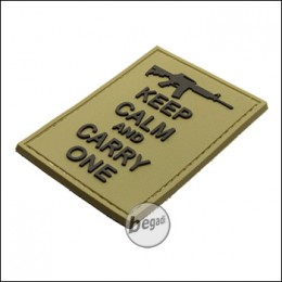 """BE-X 3D Rubber Patch """"Carry an M4"""", with Hook & Loop - TAN"""
