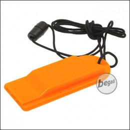 Fibega Signal Whistle, orange, with cord