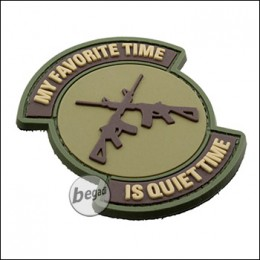 """3D Rubber Patch """"Quiet Time"""", with Hook & Loop - black"""