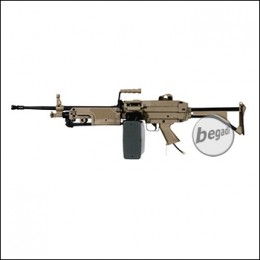 A&K M249 MK1 LMG Polarstar HPA M Version, mit F2 Engine -TAN- (frei ab 18 J.)