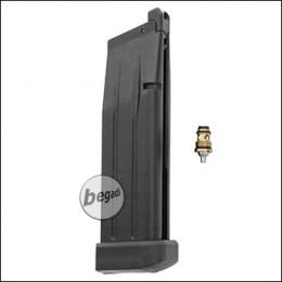 Magazin für WE HiCapa Serie, 28 BBs -Gas Version, kurz- mit Begadi Stainless Efficiency Ventil + Ersatz WE Auslassventil