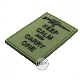 """BE-X 3D Rubber Patch """"Carry an G36"""", with Hook & Loop - OD green"""