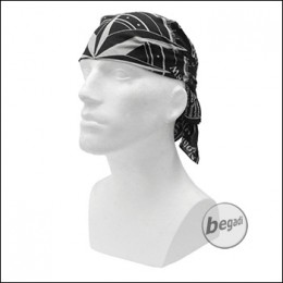 FIBEGA Survival Bandana, pure cotton, 60x60cm - gray / black